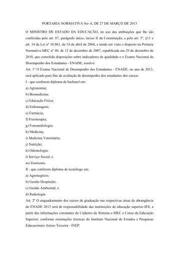 Portaria Normativa nº. 6, de 27/03/2013 - PROGRAD