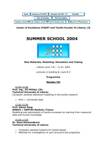 SUMMER SCHOOL 2004 - Centrum Textil