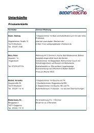 Private Unterkünfte - Baden Racing