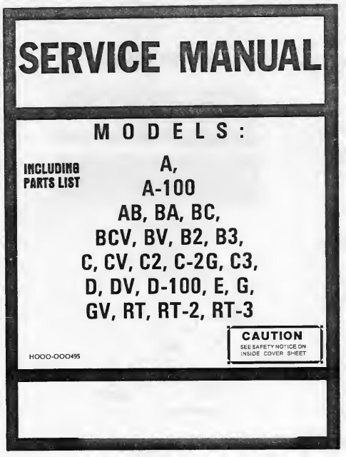 Hammond Organ Service Manual - Early Models (A,B ... on