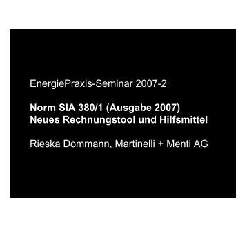 EnergiePraxis-Seminar 2007-2 EnergiePraxis Seminar 2007 2 ...