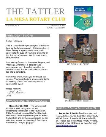 The Tattler Special Edition December 10, 2006 - La Mesa