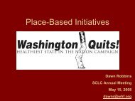 Place-Based Initiatives - Smoking Cessation Leadership Center