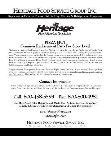 Simple Parts Catalog - Heritage Food Service Equipment, Inc.