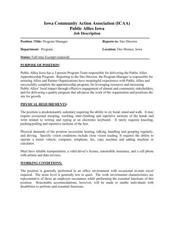 It program manager job description pdf