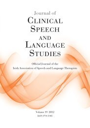 CLINICAL SPEECH LANGUAGE STUDIES - Irish Association of ...
