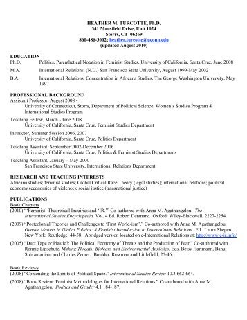 Turcotte CV August 2010 - Department of Political Science ...
