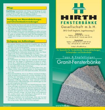 Fensterbänke - Hirth