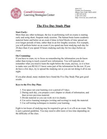 the five day study plan cornell learning strategies center