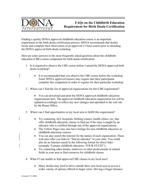FAQs on the Childbirth Education Requirement for Birth Doula ...