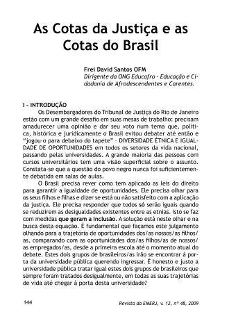 As Cotas da Justiça e as Cotas do Brasil - Emerj