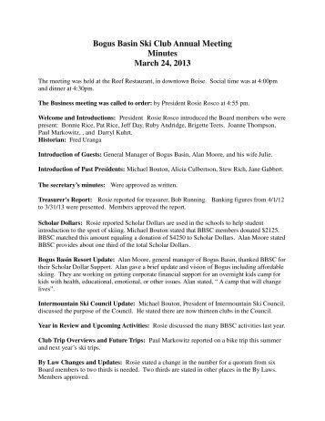 Bogus Basin Ski Club Annual Meeting Minutes March 24, 2013