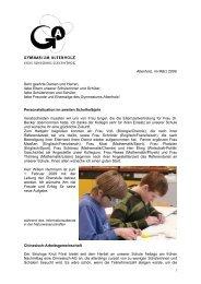 Rundbrief März 2009 - Gymnasium Altenholz