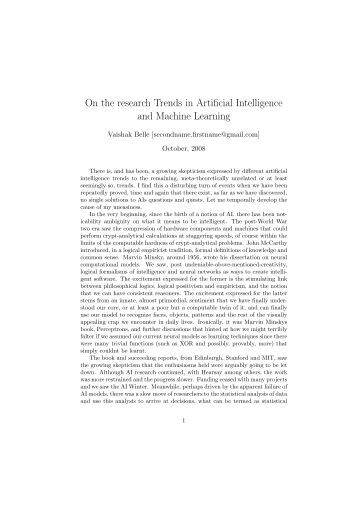 On the research Trends in Artificial Intelligence and Machine Learning
