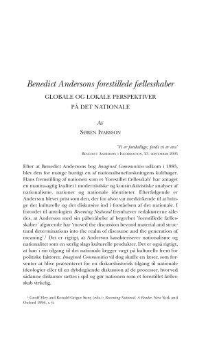 Benedict Andersons forestillede fællesskaber - Historisk Tidsskrift