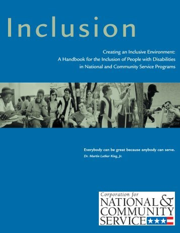 Creating an Inclusive Environment - National Service Inclusion Project