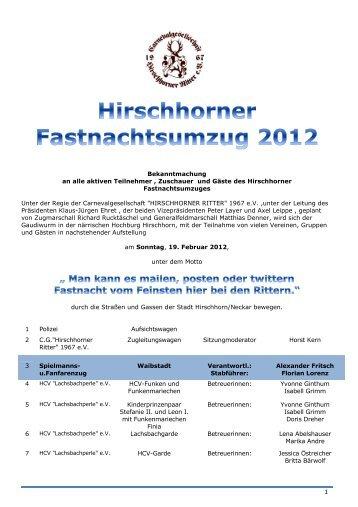 Zugprogramm 2012 - Hirschhorner Ritter