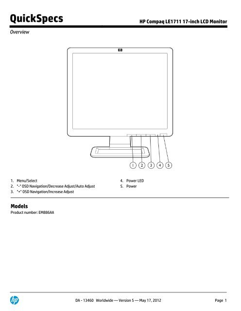 """HP Compaq LE1711 17/"""" LCD Monitor With VGA Cable Power Cord"""
