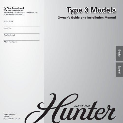 Type 3 Models Hunter Fan