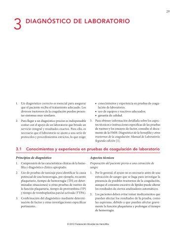 3 diagnóstico de laboratorio - World Federation of Hemophilia