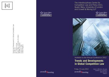 Trends and Developments in Global Competition Law - The ...