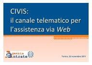il canale telematico per l'assistenza via Web - Direzione regionale ...