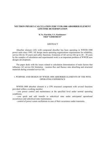 NEUTRON PHYSICS CALCULATION FOR VVER-1000 ABSORBER ...