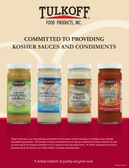 COMMITTED TO PROVIDING KOSHER SAUCES AND CONDIMENTS