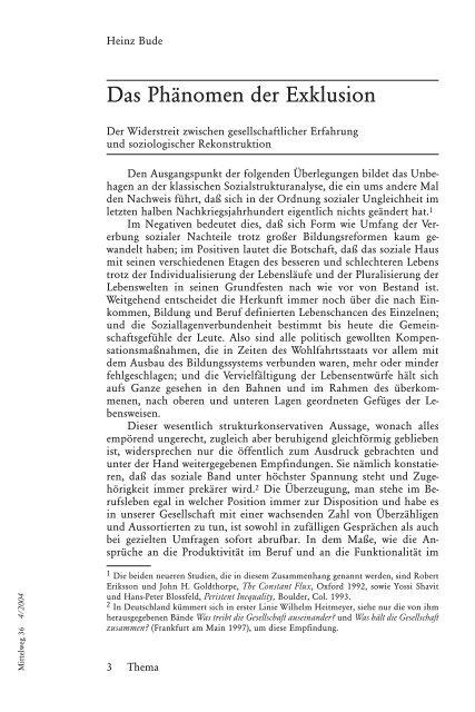 Heinz Bude - Das Phänomen der Exklusion