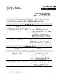 Premera Blue Cross Benefit Summary - Instant Benefits Network