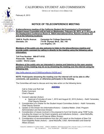 Meeting Notice - CSAC California Student Aid Commission