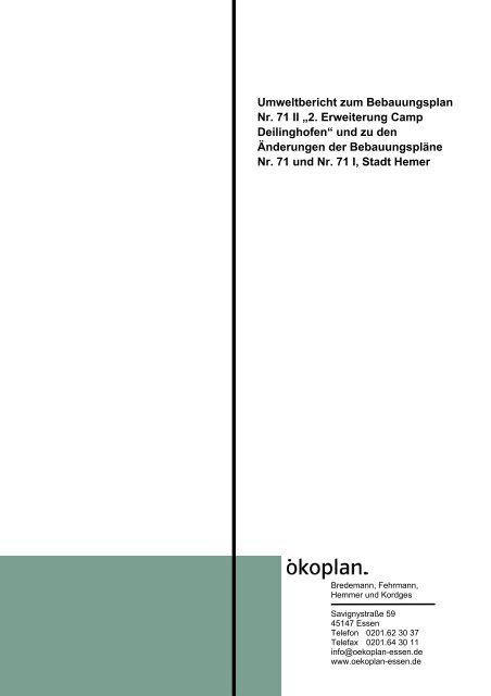 """Umweltbericht zum Bebauungsplan Nr. 71 II """"2 ... - Hemer"""