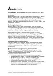 Management of Community Acquired Pneumonia - Austin Health