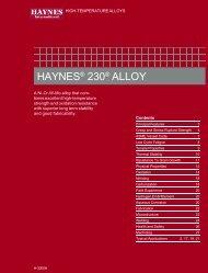 Haynes 230 alloy - Haynes International, Inc.