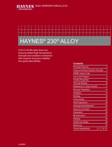 Haynes 230 alloy - Haynes International, Inc.