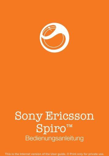 Bedienungsanleitung Sony-Ericsson Spiro - Handy Deutschland