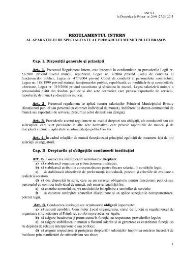Regulament Intern - Primaria Municipiului Brasov