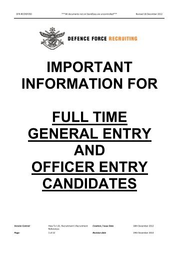 DFR-RECREF050 Important Information for General Entry and ...