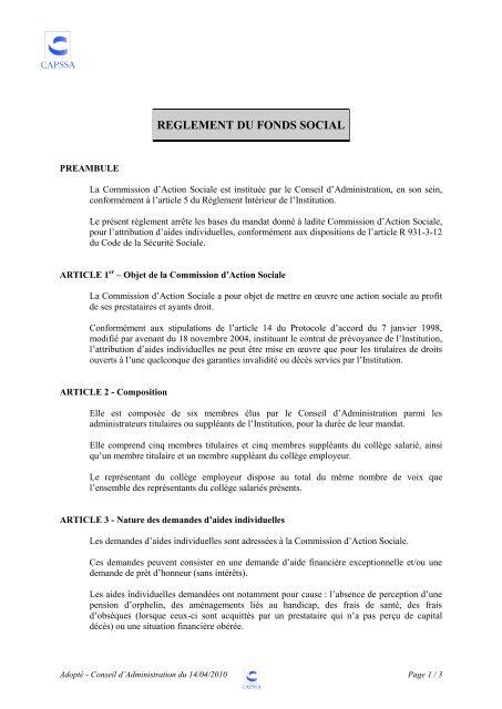 REGLEMENT DU FONDS SOCIAL - Ucanss
