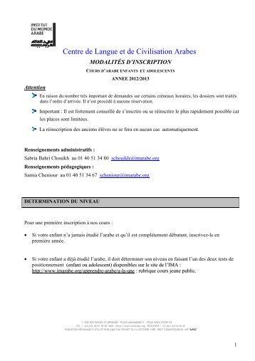 dossier d'inscription 2012/2013 Jeune public - Institut du Monde Arabe