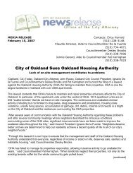 City of Oakland Sues Oakland Housing Authority