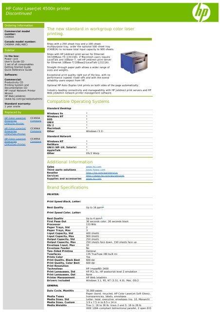 HP Color LaserJet 4500n printer Discontinued The