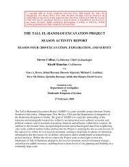 season activity report, 2009 - Tall el-Hammam Excavation Project ...