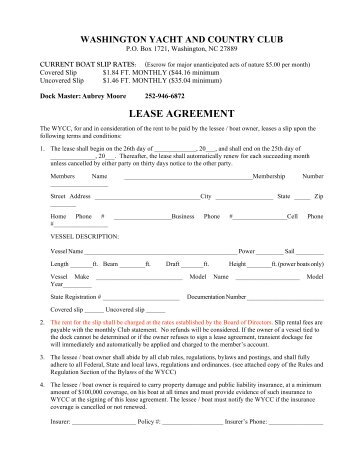 Boat Slip Application Lease Agreement And Rules For Use Of