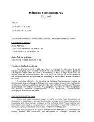Métodos Biomoleculares - Biologia Molecular e Genética