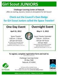 Challenger Learning Center at Paducah April 21, 2012 May 4 - 5 ...