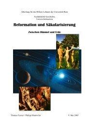 Reformation und Säkularisierung - Histomat