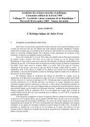 L'héritage laïque de Jules Ferry - Académie des sciences morales et ...