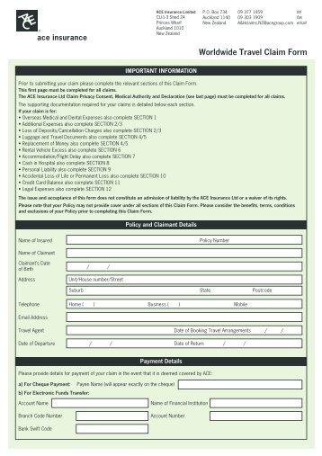 General Sports Claim Form - sle worldwide australia