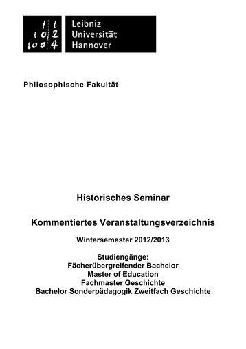 Fach Geschichte - Historisches Seminar - Leibniz Universität ...